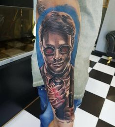 Matt Murdock tattoo by Amandio! Limited availability at Revival Tattoo Studio.