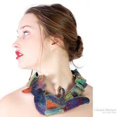 Original artiste felt jewelry,  tribal inspired bird, textile art necklace