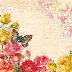 Decoupage Servietten (x4)-Vintage Schmetterlinge
