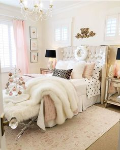 pink and black bedroom styled for christmas with mini white feather tree Painting Moving Decor and Organization Home Decor Bedroom, Farmhouse Style Master Bedroom, Bedroom Makeover, Dream Rooms, Bedroom Decor, Bedroom Inspirations, Bedroom Styles, Christmas Bedroom, Home Decor