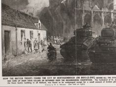 Sint Janskathedraal; Tekening van de bevrijding van de stad. Britse tanks voor de onbeschadigde kathedraal. Links mensen in klederdracht voor de huizen. 1944 WG Whitaker #NoordBrabant #DenBosch