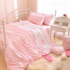 Polka Dot Princess Bedding cute cartoon powder color Dormitory Room Single Cotton Kids Bedding three family of four