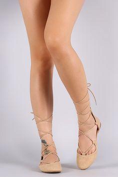 Soda Round Toe Lace Up Ballet Flat