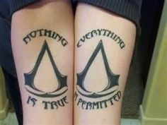 Nothing is True, Everything is Permitted Tatoo. Assassin' s creed Gamer Tattoos, Weird Tattoos, Cool Tattoos For Guys, Top Tattoos, Forearm Tattoos, Sleeve Tattoos, Awesome Tattoos, Tatoos, Nice Tattoos