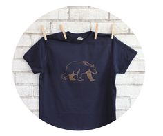 Bear Tshirt Youth Cotton Crewneck Short Sleeved by CausticThreads