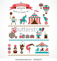 vintage hipster circus collection with carnival, fun fair, vector icons and background and illustration