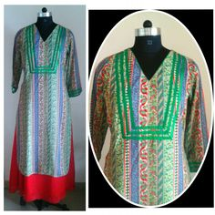Green printed reyon cotton kurta. Tuned with red satin georgette long skirt.  Can be customized in any color. To book your order/any query, contact us: call/whatsapp on +91 9833617147.  Like us? Follow us! https://m.facebook.com/VastranDecorbySoumiyaKhanna  #Fashion #fashionista #fashionblogger #bollywoodfashion #indian #bollywood #stylediva #diva #pretty #boutique #designer #clothing #clothingline #clothingbrand #womenswear #womensbrand #womensfashion #garments #clothes #clothesforsale…