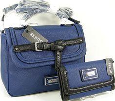 a28f93b5174 Guess G Logo Purse Satchel Cross Body Bag  amp  Wallet Set 2 Piece Matching  Blue