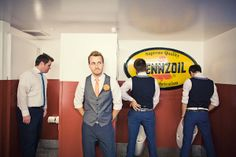 hilarious photo of groom and groomsmen in restroom