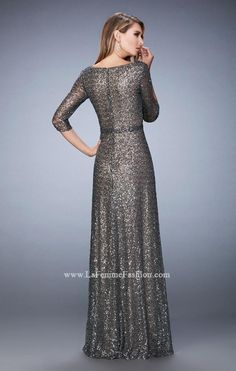 La Femme Evening 21900 Mother Of The Bride Dress Evening Gowns With Sleeves, Sequin Evening Gowns, Maxi Gowns, Formal Evening Dresses, Elegant Dresses, Couture Dresses, Fashion Dresses, Hijab Fashion, Terani Dresses