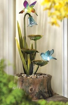 Floral Water Fountain with Lights Hummingbirds Flowers Indoor Outdoor