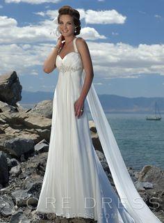 Unique Sheath / Column Sweetheart Beading Crystal Brooch Draped Wedding Dress at Promgirlshop.com
