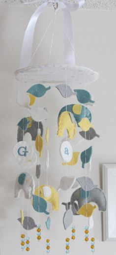 Elephant Baby Mobile by aprilderek: Pick your favorite colors. $70 #Mobile #Elephant_Mobile