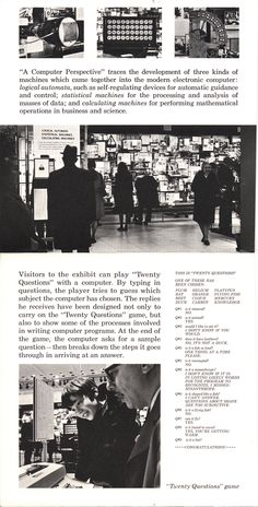 A Computer Perspective, an Eames Office exhibition which opened in New York City in 1971 at the IBM Exhibition Center and travelled to other venues through 1975.