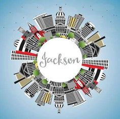 Illustration of Jackson Mississippi City Skyline with Gray Buildings, Blue Sky and Copy Space. Travel and Tourism Concept with Historic Architecture. Jackson USA Cityscape with Landmarks. vector art, clipart and stock vectors. Jackson Mississippi, Historic Architecture, Travel And Tourism, Vector Art, Buildings, Photo Editing, Skyline, Clip Art, Concept