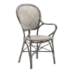 Our Rossini Taupe Arm Chair from Sika Design was inspired by traditional French Bistro chairs. These handcrafted bistro inspired rattan side chairs bring you back to the atmosphere of Paris cafe life in the Rattan Dining Chairs, Rattan Furniture, Dining Arm Chair, Outdoor Chairs, Dining Table, Outdoor Furniture, Lounge Chairs, Outdoor Dining, Dining Rooms