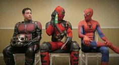 I need this photo, it completes my life. Deadpool holding a can of freaking Raid next to Spider and Ant Man Comic Book Characters, Marvel Characters, Comic Books, Marvel Dc, Marvel Comics, Ei Nerd, Deadpool Pictures, Epic Cosplay, Nerd Humor