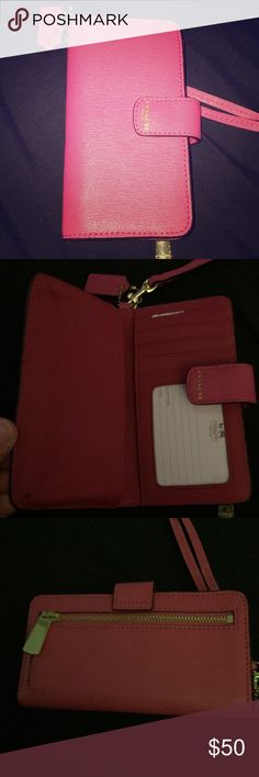 Coach Phone Case Pink coach phone case. Made with saphfinio leather. New condition. Holds smaller phones. Also great for a plain wallet or Wristlet. Coach Accessories Phone Cases