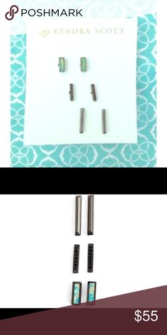 Kendra Scott Aqua Kyocera Opal earrings Kendra Scott Aqua Kyocera Opal earrings in gunmetal hardware. Never worn and Comes with dustbag! These are currently sold out at KS! Beautiful additions to any winter or spring outfit! Kendra Scott Jewelry Earrings