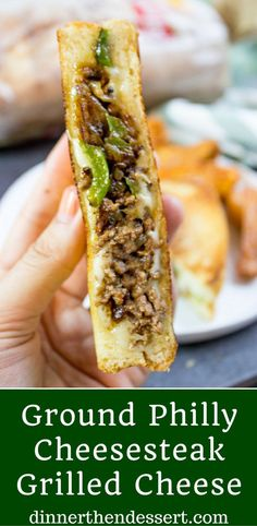 23 Savory Ground Beef Recipes To Try Ground Philly Cheesesteak Grilled Cheese made with bell peppers, onions and American or Provolone Cheese. All the flavor of a cheese steak for half the price. Tacos, Tostadas, Burritos, Meat Recipes, Cooking Recipes, Top Recipes, Burger Recipes, Paninis, Good Food