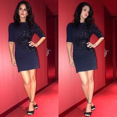 What glitters is not gold.. its @sunnyleone The diva styled by me in a short dress with extinct embroidery on one side thanks Fo
