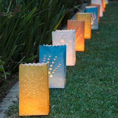 From DIY solar lights to candles, mason jars to string lights, this round up is full of creative outdoor lighting ideas to light up the garden at night. Diy Candle Lantern, Diy Candles, Pillar Candles, Garden Party Decorations, Outdoor Wedding Decorations, Light Decorations, Paper Bag Lanterns, Candle Bags, Outdoor Garden Lighting