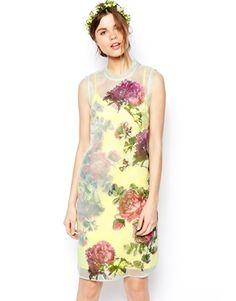 c0277052d0b ASOS SALON Shift Dress In Organza With Applique Flowers at asos.com