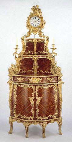 Cabinet by Jacques Dubois; clock movement by Étienne Le Noir; enamel by Antoine-Nicolas Martinière  French, Paris, about 1744 - 1752  Oak veneered with bois satiné and rosewood; gilt bronze mounts