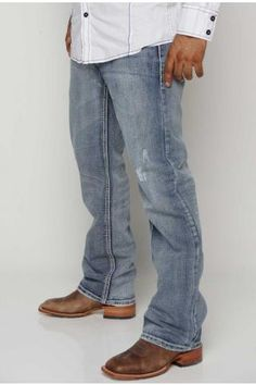 Men's Blue Jeans Relaxed Straight Fit ,Leg Opening 18 Mens Smart Casual Outfits, Winter Outfits Men, Casual Summer Outfits, Men Casual, Stylish Jeans, Cowboy Outfits, Outfits With Converse, Country Outfits, Men's Outfits