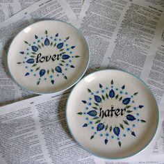 Lover and Hater Blue Altered Vintage Plate Set by geekdetails, $25.00