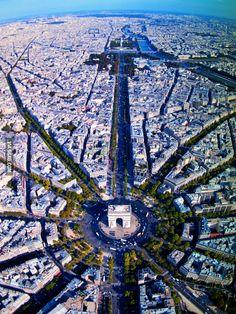 Vista aérea do Arco do Triunfo, Paris