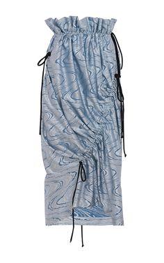 Selma Jacquard Fringe Draped Skirt by APARTAMENTO 03 for Preorder on Moda Operandi