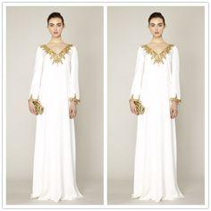 8dc3ca8e1e Muslim Evening Dress 2015 dubai kaftan Sequins Charm V Neck White Chiffon  Straight Long Sleeve Evening