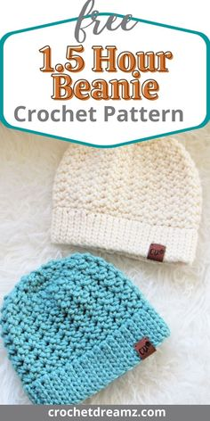 Beanie Pattern Free, Baby Hat Patterns, Crochet Beanie Pattern, Crochet Baby Hats, Simple Crochet Patterns, Kids Crochet Hats Free Pattern, Chunky Crochet Hat, Crochet Adult Hat, Crocheted Hats