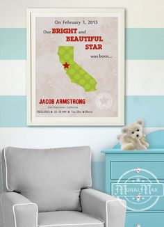 Kids wall art USA STATES MAP  Poster Print 11x14  by MuralMAX, $30