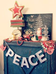 christmas decorating- I like the peace banner!