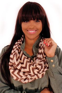 Cocoa and Cream Scarf - Check out and get noticed in this Cocoa and Cream chevron infinity scarf, a perfect accent for many outfits!  - available online at http://www.envyboutique.us/shop/cocoa-and-cream-scarf/ #Envy #Boutique #chic #fashions