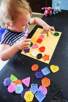 Button Shapes Game Pointing #finemotor #shapematching #toddler #busybag Toddler Learning Activities, Games For Toddlers, Montessori Toddler, Video Games For Kids, Infant Activities, Toddler Preschool, Toddler Crafts, Activities For Kids, Crafts For Kids