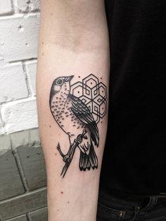 Geometric + bird tattoo