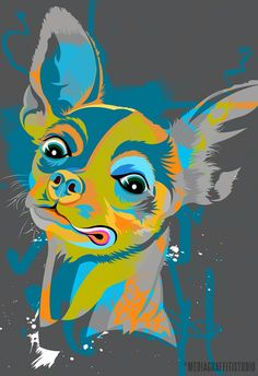 I do not like CHIHUAHUAs but this picture is cool!  dog art pet portrait in Pop Art colors