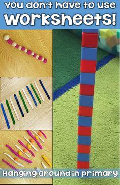 How to stop using boring worksheets! Patterning Kindergarten, Kindergarten Math Activities, Kindergarten Lesson Plans, Kindergarten Classroom, Fun Math, Math Resources, Preschool, Teaching Patterns, Math Patterns