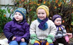 """A picture from a knitted hat pattern, like the pattern but love the pictures of the kids! Pattern name is """"Fun-kit Mix"""" with Pickles alpaca yarn, from either allfreeknitting.com or Pickles."""