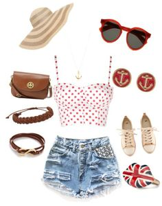 High waist blue jean shorts with red and white crop top, tory burch purse, and Sunhat ❤ created on polyvore