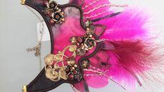Collier en soie plastron rose vif marron : Collier par iletaitunesoie