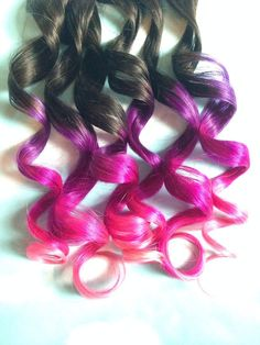 Pink and Purple Hair Clip Extensions Pink Ombre by Cloud9Jewels