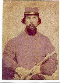 Captain Peter Marchant of the 47th Tennessee. Peter resided in Gibson County, Tennessee before the war. His image was made at Petersburg, VA. after prisoner exchange. He was captured at the battle of Murfreesboro and sent to Camp Chase. Peter was exchanged at City Point, VA. April 2, 1864.He was captured again during the battle of Nashville on December 16, 1864. Captain Marchant died a prisoner at Ft. Delaware, Jan. 2, 1865.