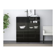 BESTÅ Storage combination w/glass doors - black-brown/Selsviken high gloss/black clear glass, drawer runner, soft-closing - IKEA
