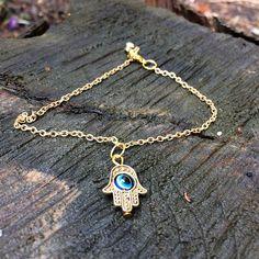 Gold Hamsa Anklet Gold Hamsa Jewelry Hamsa Fatima Hand