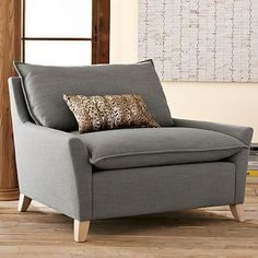 west elm bliss down-filled 'chair-and-a-half' in pebble linen weave fabric (could replace a second sofa/loveseat)