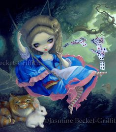 Alice in Fragonard's Swing - Gothic Rococo Alice in Wonderland Cheshire Cat lowbrow art print by Jasmine Becket-Griffith 8x10. $13.99, via Etsy.